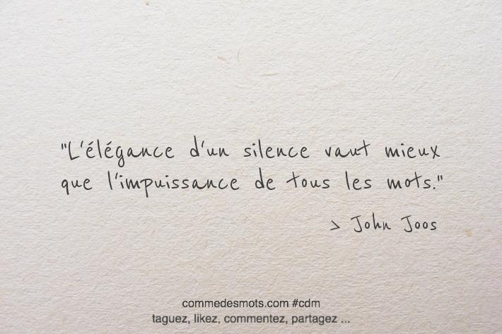 L'élégance d'un silence