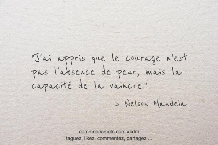 J'ai appris que le courage n'est pas l'absence de peur, mais la capacité de la vaincre.