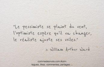Le pessimiste se plaint du vent, l'optimiste espère qu'il va changer