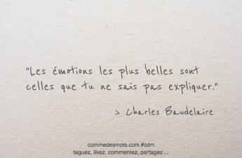 Les émotions les plus belles sont celles que tu ne sais pas expliquer.