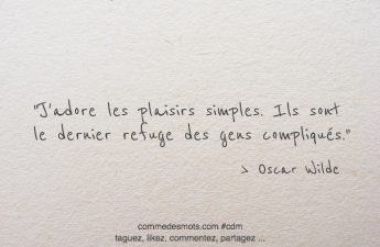 J'adore les plaisirs simples. Ils sont le dernier refuge des gens compliqués.