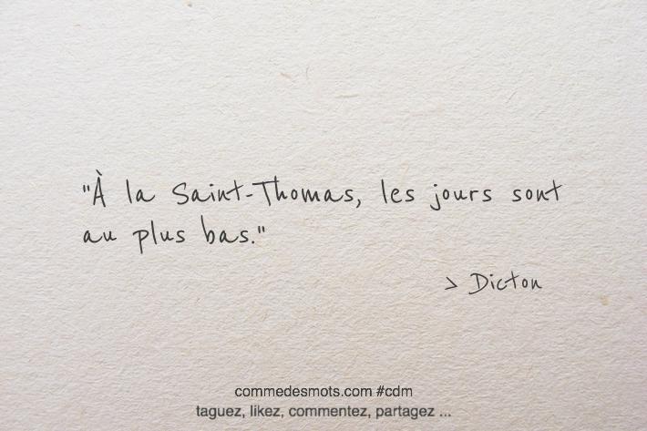 À la Saint-Thomas