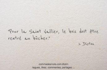 Pour la Saint Vallier