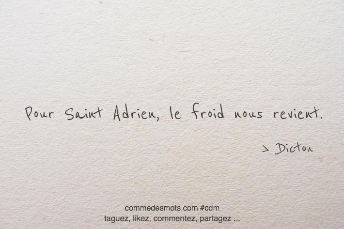 Pour Saint-Adrien, - Le froid nous revient.