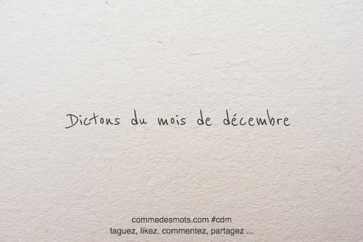 Dictons du mois de décembre